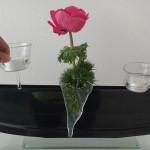 Vase ELLIPSE mit Stecker Töpfli TEELICHT und Stecker Glastropfen ALETSCH