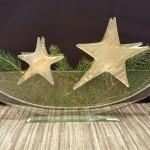 Vase ELLIPSE transparent mit Stecker Kerzenlicht STERN matt/gold