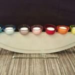 Vase ELLIPSE weiss mit Stecker Töpfli petrol, hellblau, lila, rosa, rot, orange, gelb
