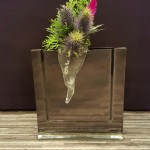 Vase QUADRO schwarz mit Stecker Glastropfen ALETSCH gross