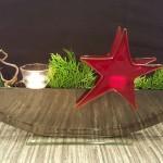 Vase ELLIPSE schwarz mit Stecker Töpfli TEELICHT und Stecker Kerzenlicht STERN rot