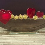 Vase ELLIPSE schwarz mit Stecker Herzlicht AMOR rot und Stecker Herzli AMOR rot gross und klein