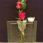 Vase QUADRO transparent mit Stecker Glastropfen ALETSCH und Stecker Töpfli transparent