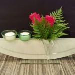 Vase ELLIPSE weiss mit Stecker Glastropfen ALETSCH und Stecker Töpfli hellgrün und grün